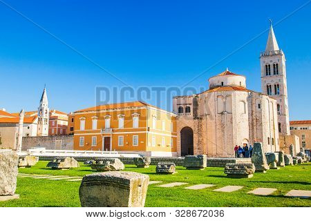 Croatia, City Of Zadar, St. Donat Church, Old Roman Forum Ruins And Cathedral Of St. Anastasia Bell