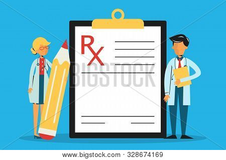 Medical Prescription. White Empty Document Form On The Clipboard. List Of Medication For Patient. Me