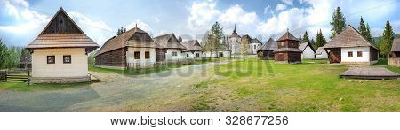 Old Traditional Wooden Houses Of Village Pribylina In Liptov Region (slovakia) - Panorama