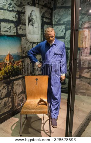 AMSTERDAM, NETHERLANDS - APRIL 25, 2017: Hannibal Lecter (Anthony Hopkins) wax statue in Madame Tussauds museum on April 25, 2017 in Amsterdam Netherlands.