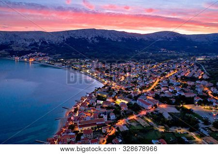 Baska. Aerial Sunset Burning Sky View Of Town Of Baska. Island Of Krk In Croatia.
