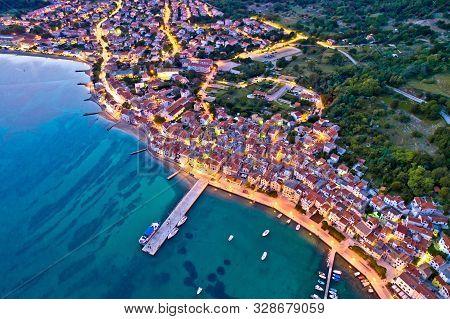Baska. Aerial Evening View Of Town Of Baska Coast And Harbor. Island Of Krk In Croatia.