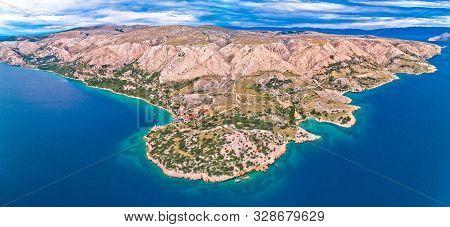 Stara Baska. Aerial Panoramic View Of Stara Baska Village And Stone Desert Landscape Of Krk Island,