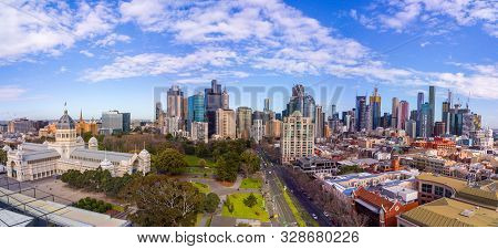 Australia, Melbourne - July 27, 2018: Panoramic aerial view of the Royal Exhibition building and Melbourne city skyline, Australia