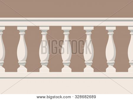 Seamless Pattern Of Balustrade. The Enclosure Of The Balcony Or Veranda. Architectural Part Of The O