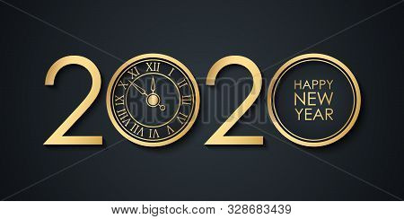 2020 New Year Celebrate Banner With 2020 Numbers Creative Design, Gold Clock And Happy New Year Holi