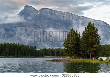 Panoramic Image Of Mount Rundle Reflecting In Two Jack Lake With Early Morning Mood, Banff National