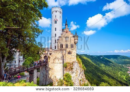 Germany - Aug 4, 2019: Lichtenstein Castle In Summer. This Beautiful Castle Is A Landmark Of Baden-w