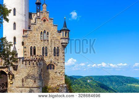 Lichtenstein Castle On Blue Sky Background, Germany. It Is A Famous Landmark Of Baden-wurttemberg. S