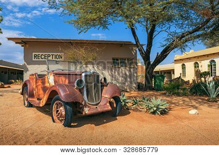 Solitaire, Namibia - March 29, 2019 : Car Wreck At The Solitaire Lodge In Namibia. Solitaire Is A Sm