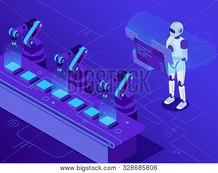 Manufacturing Automatization. Artificial Intelligence Controls Automated Conveyor And Robotized Indu