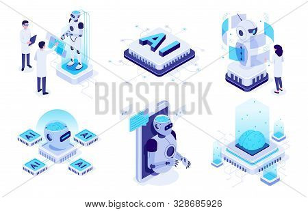 Isometric Artificial Intelligence. Digital Brain Neural Network, Ai Servers And Robots Technology, A