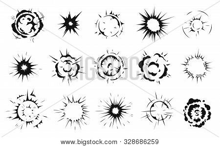 Radial Explosion Silhouette. Exploding Bursts, Round Explosions Cloud And Exploded Bomb Effect Black