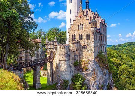 Lichtenstein Castle In Summer, Germany. This Amazing Castle Is A Landmark Of Baden-wurttemberg. Scen