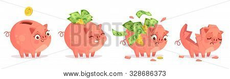 Cartoon Piggy Bank. Savings, Bank Deposit And Save Money Investments. Empty And Full Of Cash And Gol