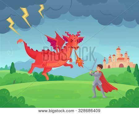 Cartoon Fairytale Knight Fights Dragon. Swordsman Fighting Evil Monster, Hero Battle With Dragons Me