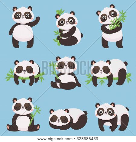 Cartoon Panda Kids. Little Pandas, Funny Animals With Bamboo And Cute Sleeping Panda Bear. Doodle Ma