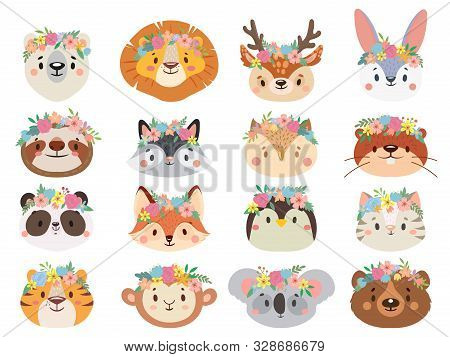 Funny Animals In Flower Wreaths. Happy Animal Head With Flower, Fun Cat And Pet Face In Wreath. Pets