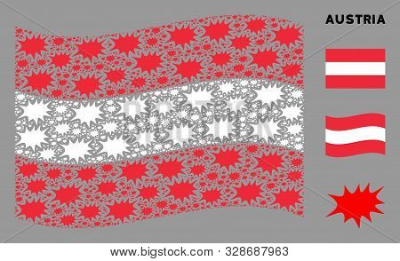 Waving Austria State Flag. Vector Boom Bang Pictograms Are Combined Into Conceptual Austria Flag Ill