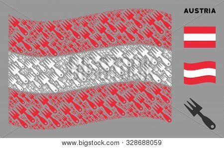 Waving Austria Official Flag. Vector Cultivator Rake Elements Are Grouped Into Mosaic Austria Flag I