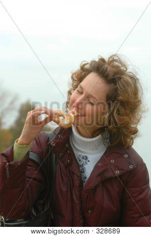 Girl With Tasty Doughnut