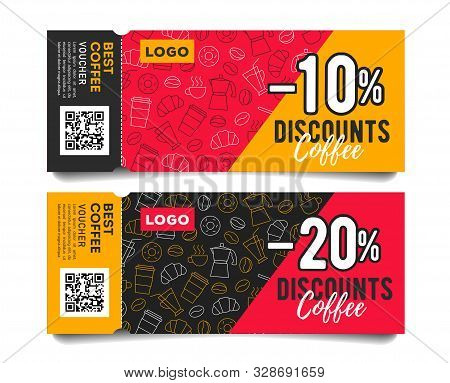 Promotion Event Admission Tickets With Torn Off Part, Coffee Beans Cups And Breakfast Food Pattern A