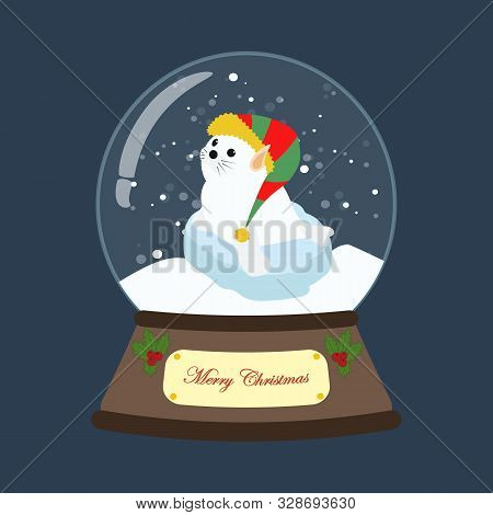 Seal In Christmas Elf Costume In Snowball