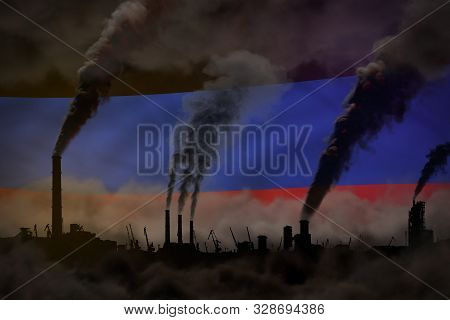 Global Warming Concept - Dense Smoke From Factory Pipes On Donetsk Peoples Republic Flag Background