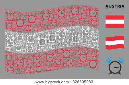 Waving Austrian Official Flag. Vector Buzzer Pictograms Are Placed Into Geometric Austrian Flag Comp