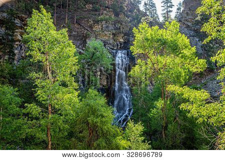 Bridal Veil Falls Is An Easily Accessible 60 Foot Waterfall Seen Along The Spearfish Canyon Scenic B