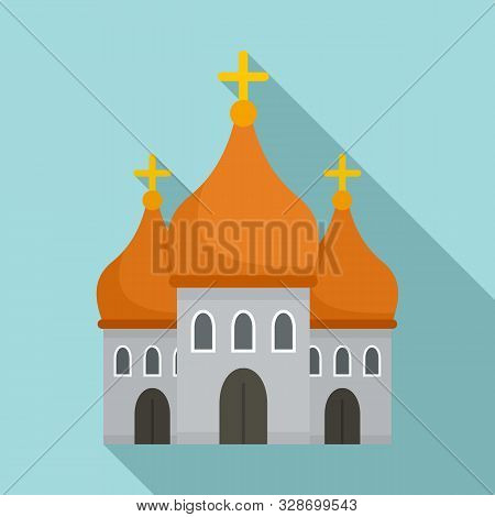 Christian Cathedral Icon. Flat Illustration Of Christian Cathedral Vector Icon For Web Design