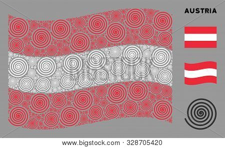 Waving Austrian Flag. Vector Hypnosis Design Elements Are Formed Into Mosaic Austrian Flag Collage.