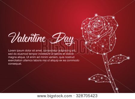 Red Roses. Red Roses For Valentines Day Celebration With Polygonal Design. Red Blooming Rose, Branch