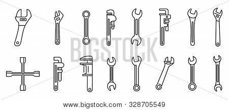 Garage Wrench Icons Set. Outline Set Of Garage Wrench Vector Icons For Web Design Isolated On White