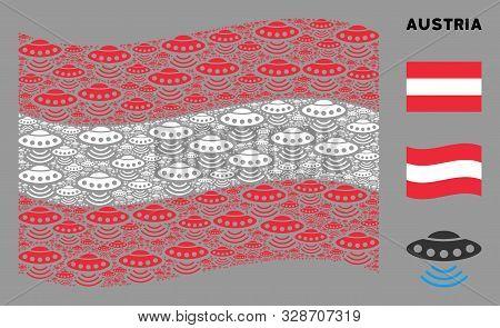 Waving Austrian State Flag. Vector Alien Invasion Design Elements Are Formed Into Mosaic Austrian Fl