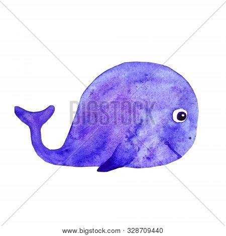Cute Whale Blue Isolated On White Background. Watercolor Hand Drawn. Sea Ocean Animal. Greeting Card