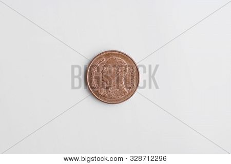 Coin - 50 Thai Satang On A White Background. Thai Currency.