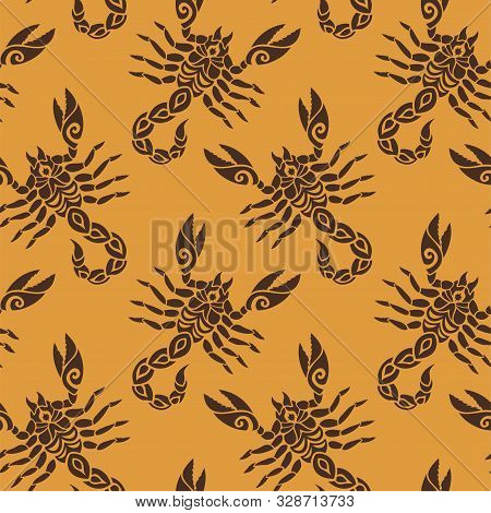 Beautiful Seamless Pattern With Stylized Scorpion Silhouettes On Orange Background