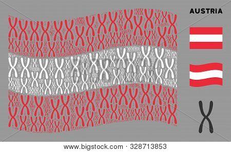 Waving Austria Official Flag. Vector Chromosome Design Elements Are United Into Conceptual Austria F