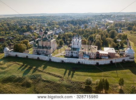 Aerial Summer View Of Pereslavl-zalessky And Old Goritsky Monastery With Shadows From Domes. Golden