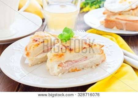 Breakfast With French Cheese And Ham Croc Monsieur Sandwich, Horizontal