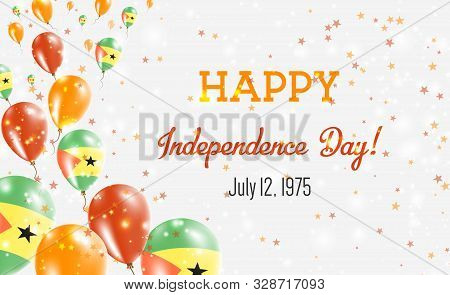 Sao Tome And Principe Independence Day Greeting Card. Flying Balloons In Sao Tome And Principe Natio