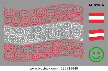Waving Austria Flag. Vector Glad Smiley Elements Are Combined Into Conceptual Austria Flag Compositi