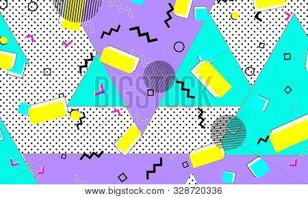 Pop Art. Summer Backdrop. Lemon Background. 90s Design. Lavender Doodle Ornament. Ultramarine Banner