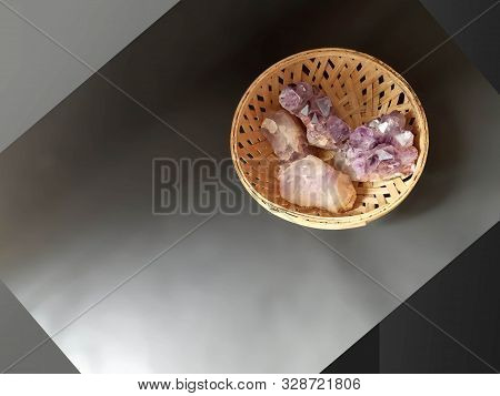 Amethyst Crystals Heals. Four Crystals In A Cane Bowl. Crystal Therapy  Balances Physical Ailments O