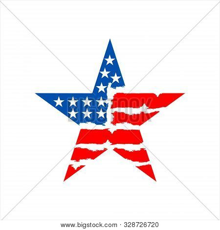 Star Icon In The Shape Of An American Flag, Colored Blue And Red, With Variations In Lines And Abstr