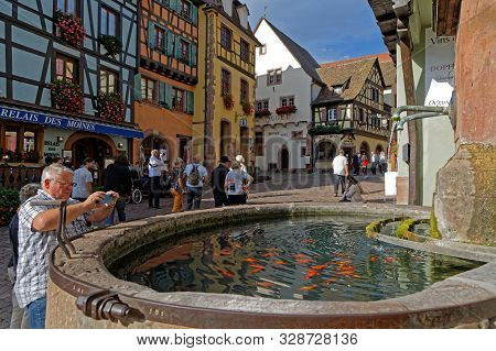 Riquewihr, France, October 13, 2019 : The Village Is A Popular Tourist Attraction For Its Historical