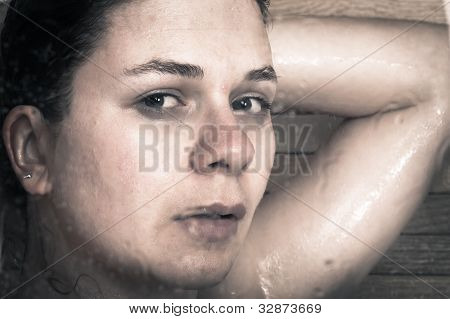 Frightened Woman In Shower