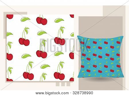 Cherry . Seamless Pattern Cherry Vector Flat Illustration For Graphic And Web Design Isolated On Whi