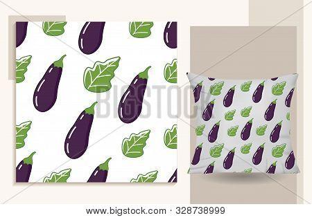 Eggplant. Seamless Pattern Eggplant Isolated On White Background . Eggplant Icon Trendy And Modern E